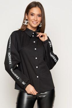 Черная рубашка с тесьмой | 31775