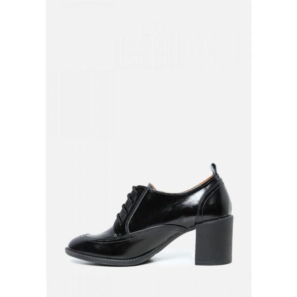 Туфли на шнуровке черные лак | 34054