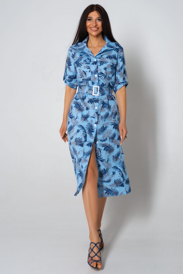 Льняне блакитне плаття з принтом | 43937
