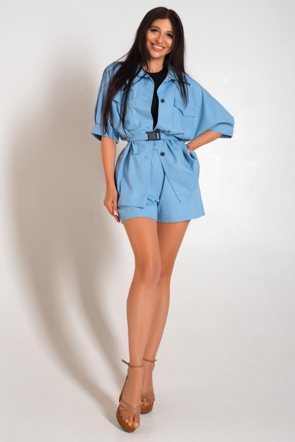 Літній костюм з шортами блакитний | 44111