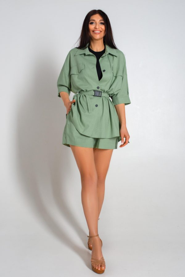 Літній костюм з шортами оливковий | 44121