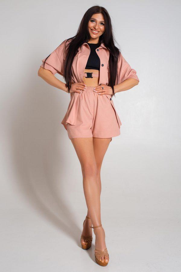 Літній костюм з шортами рожевий   44074