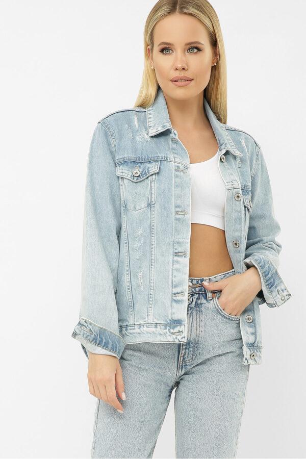 Пряма блакитна джинсова куртка   47303
