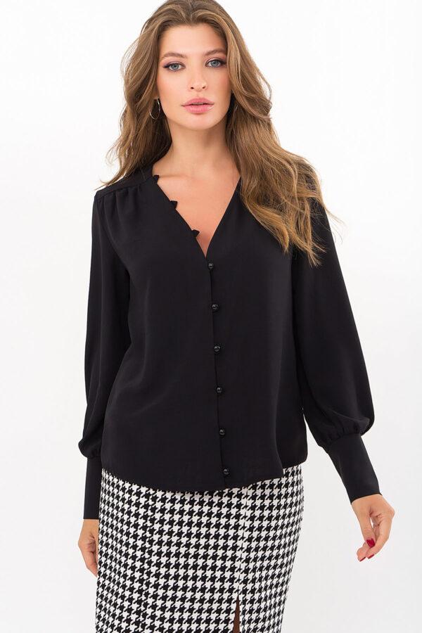 Шовкова чорна блуза | 49118