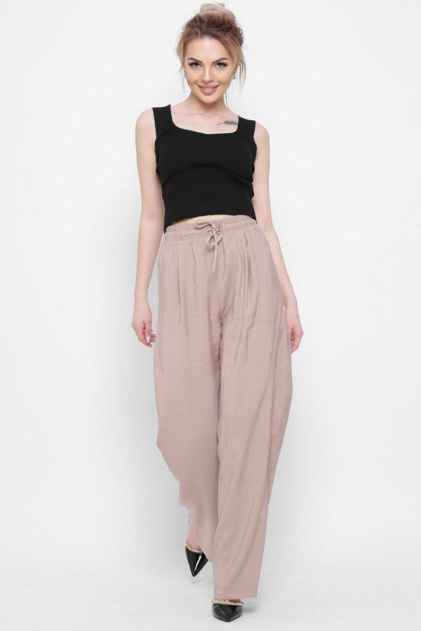 Жіночі брюки палаццо бежеві   48360