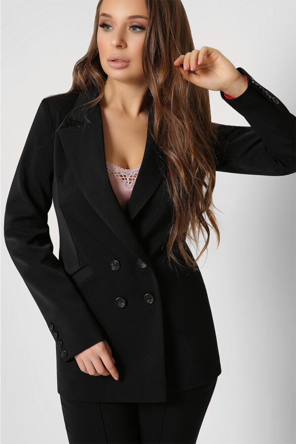 Двобортний піджак чорний | 50235