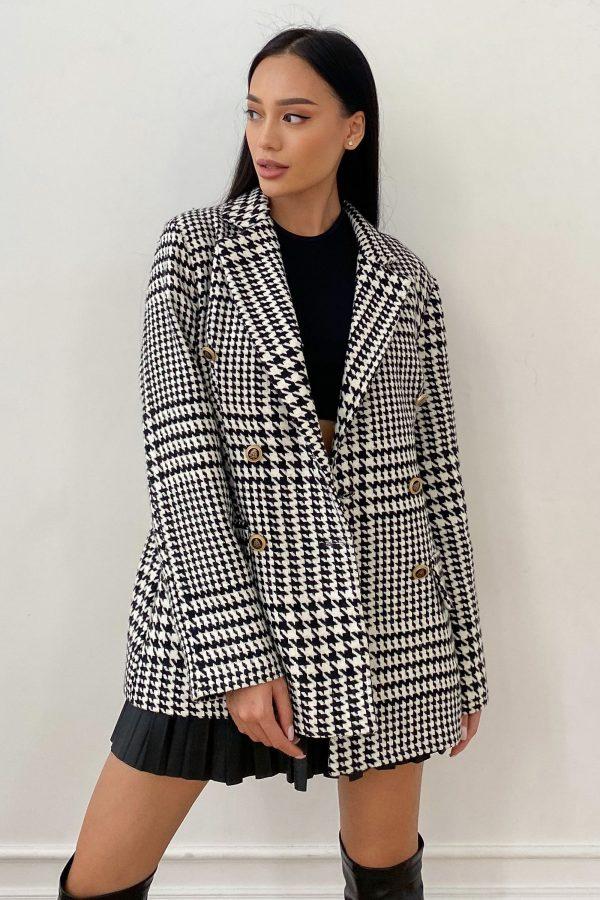 Твідовий піджак в гусячу лапку чорно-білий | 50717