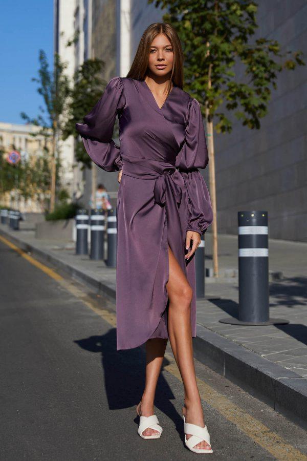 Шовкова сукня на запах фіолетова | 50590