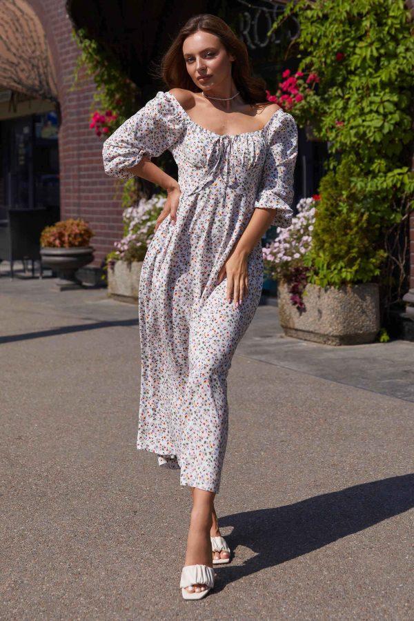 Біле плаття з квітковим принтом | 50570