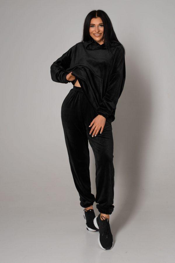 Велюровий костюм чорний   51256