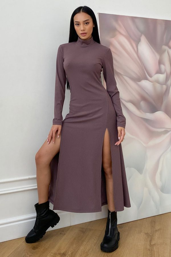 Трикотажна сукня в рубчик мокко | 50742