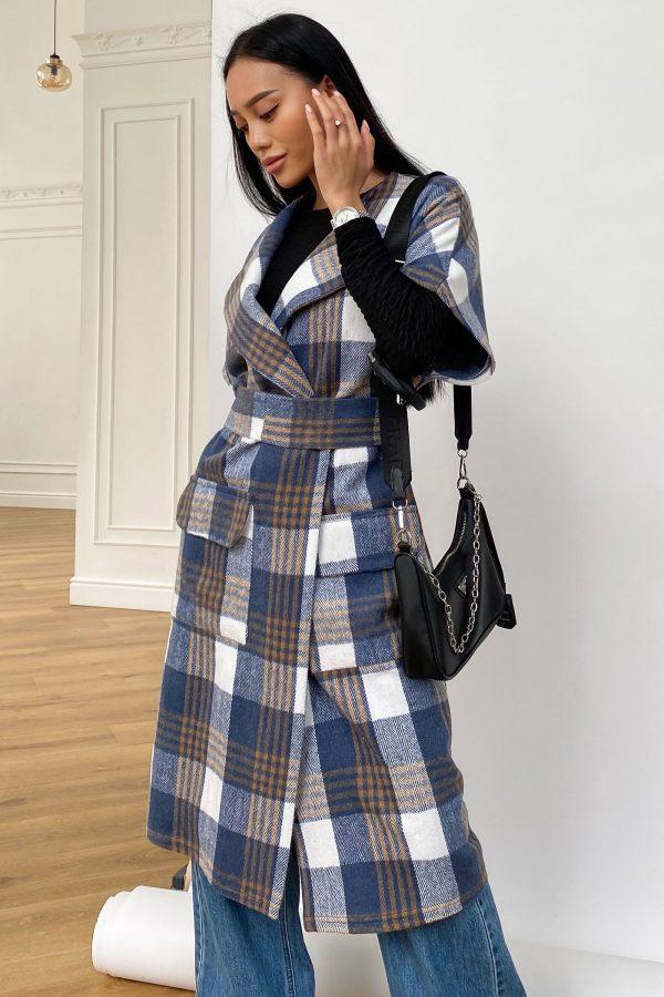 Пальто без рукавів синьо-коричневе   50866