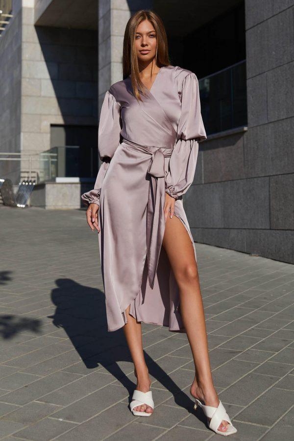 Шовкова сукня на запах бежево-рожева | 50580