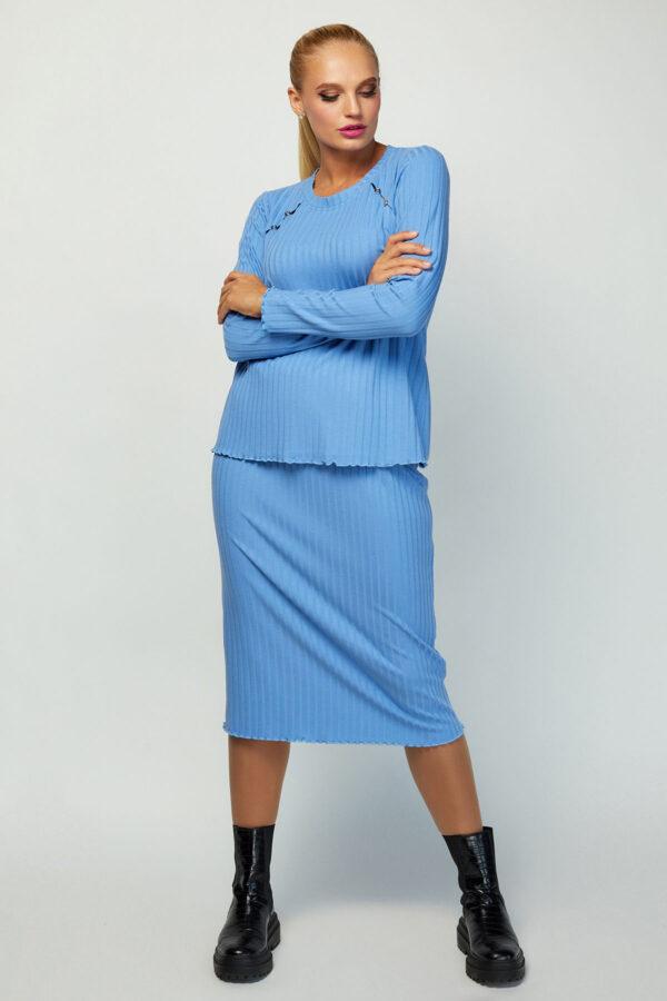 Костюм зі спідницею блакитний   50494