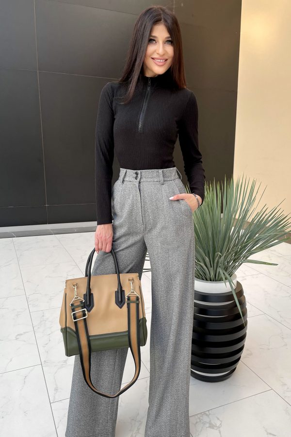 Демісезонні брюки-палаццо сірі | 51490