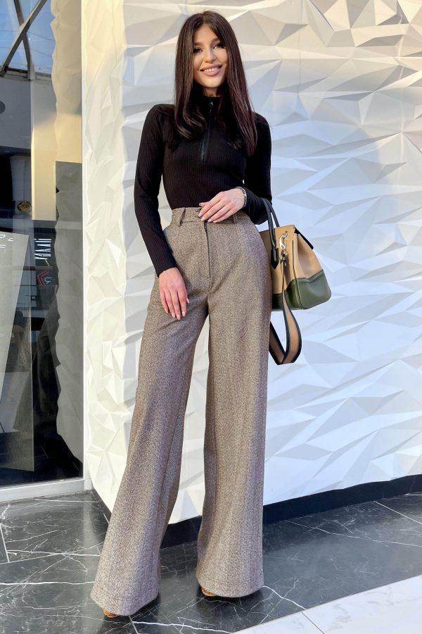 Демісезонні брюки-палаццо капучино | 51502